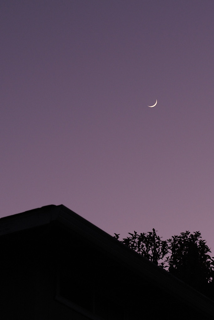 The silhouette of a rooftop with a crescent moon in the top-right.